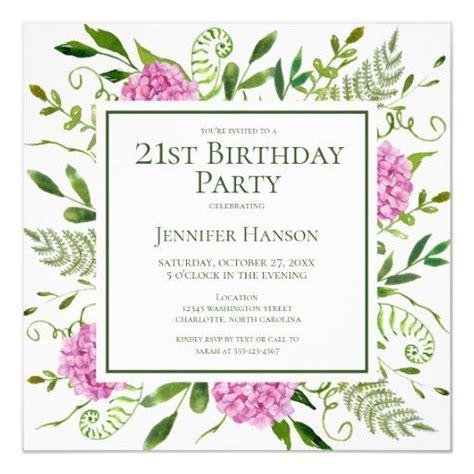 21st Birthday Pink Hydrangeas Floral Watercolor Invitation