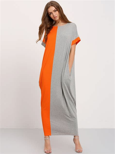 color block pockets maxi dress shein