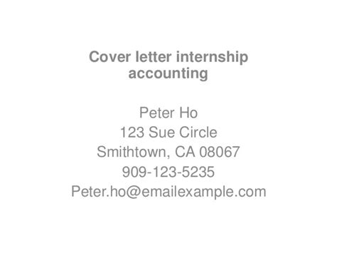 Exle Cover Letter Accounting Internship by Application Letter Sle Accounting Internship Cover