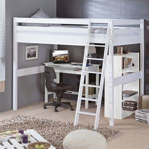 Lit mezzanine bois 2 places lit mezzanine places en bois for Chambre design avec sommier et matelas 120x200