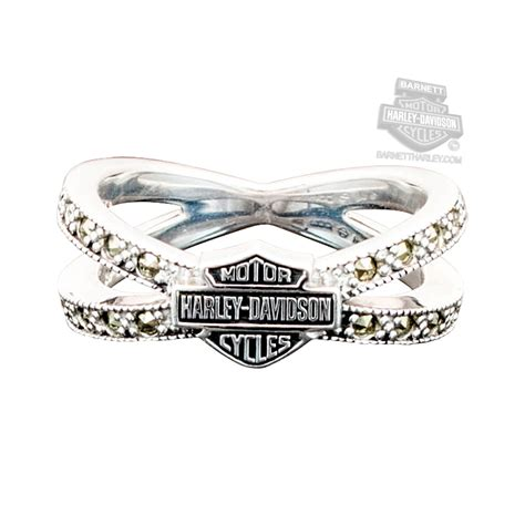 hdr harley davidson womens  silver marcasite bs criss cross band ring  mod jewelry