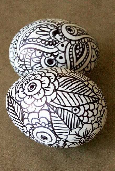 contemporary easter eggs decoration  black marker designs