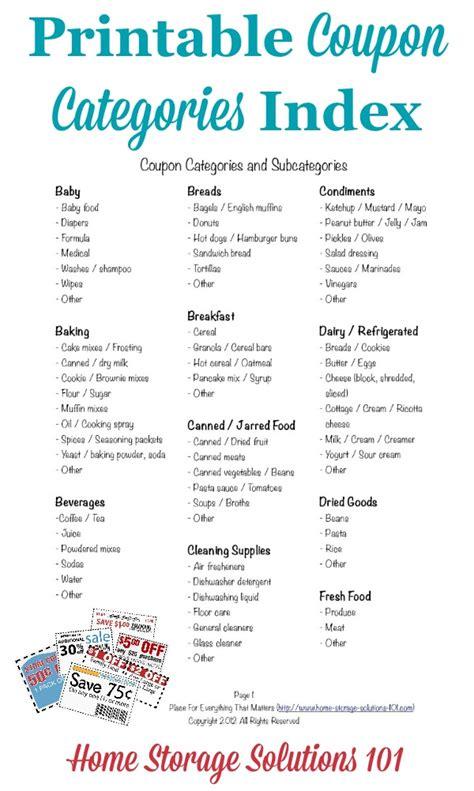 coupon categories  subcategories  organizing coupons