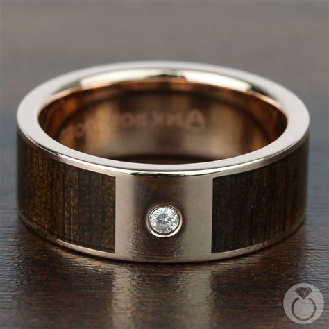 black walnut wood inlay mens wedding ring  diamond