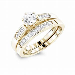 14k gold princess cut and round diamond engagement ring With princess cut diamond wedding ring sets