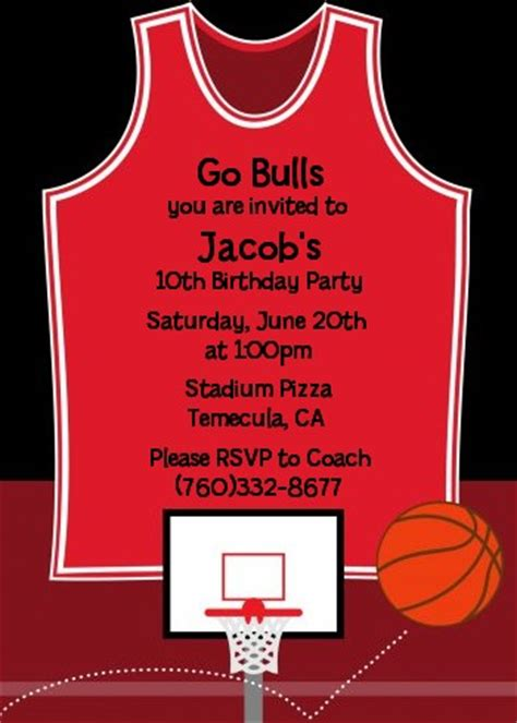basketball jersey red  black birthday party invitations