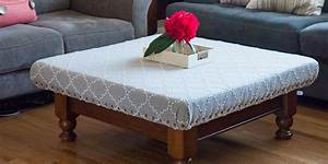 How to turn your old coffee table into a stylish ottoman for Coastal ottoman coffee table