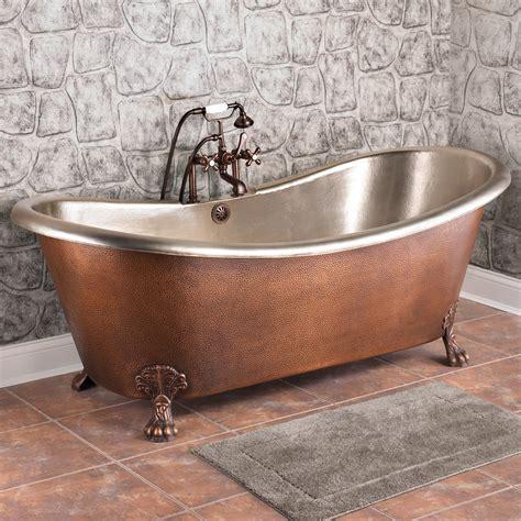isabella hammered copper double slipper bathtub