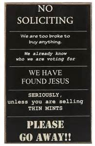 Funny No Soliciting Sign Printable
