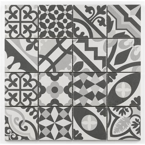 Carrelage Imitation Carreau De Ciment Patchwork mosa 239 que style imitation de ciment grise taille 8x8 cm sur