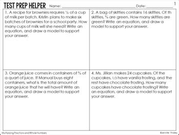 multiplying fractions by whole numbers word problems common core test prep