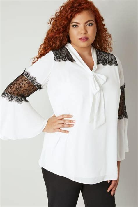 Yours London White Black Pussy Bow Chiffon Blouse With