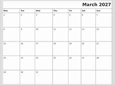 March 2027 Download Calendar