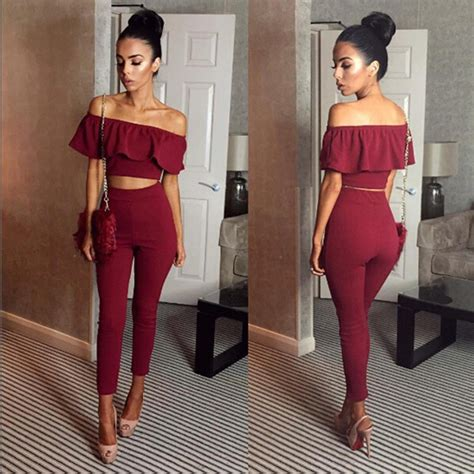 Aliexpress.com  Buy Casual Women Suits Sexy Two Piece Outfits Girls Crop Top And Long Pants 2 ...