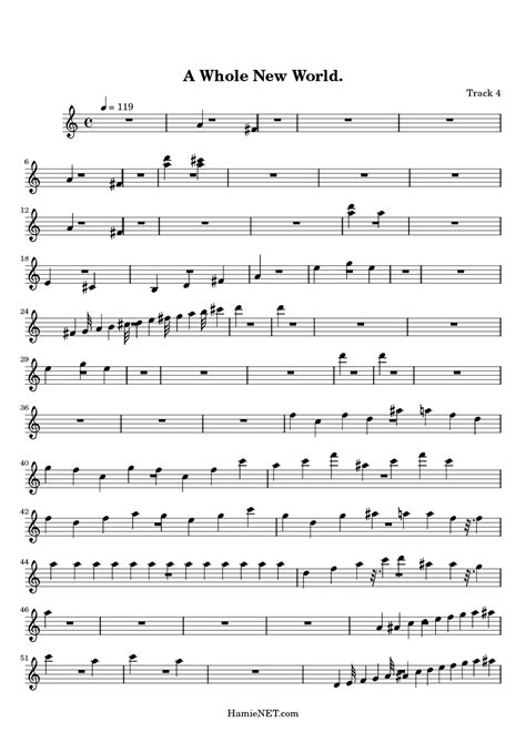Music Sheet: A Whole New World Choir Sheet Music