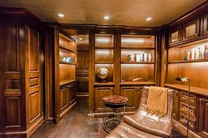 Home Theater with Secret Room - Craftsman - Wine Cellar