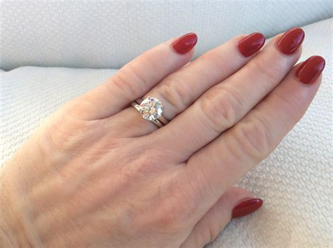 pics please solitaire e ring with plain wedding band weddingbee