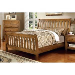 Queen Bed Rails For Headboard And Footboard by Wood Sleigh Bed Slatted Headboard And Footboard Rustic Oak