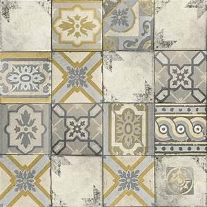 Grandeco Wallpaper Facade Moroccan Tile Mustard FC3303