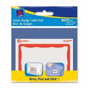 name badge label pads 3x4 40 pk red border at With avery 3x4 labels