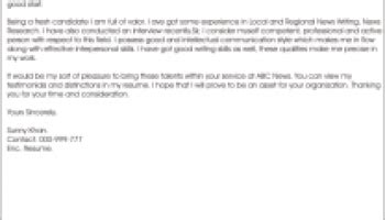 cover letter sles for journalism