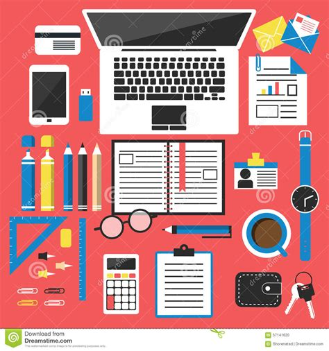 Office Desk Tools by Office Desk Top View Stock Vector Illustration Of Book