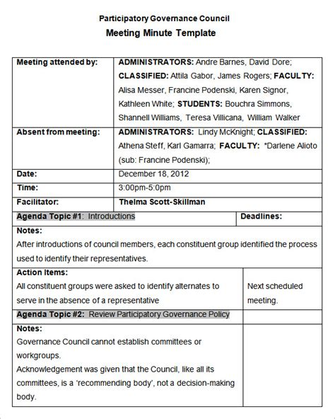 meeting notes template with items meeting minutes template 25 free sles exles format free premium templates