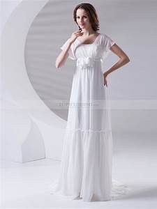 empire chiffon wedding dress with butterfly sleeves with With wedding dresses chiffon