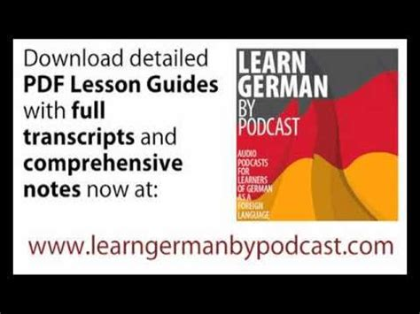 Learn German By Podcast, Lesson 01 Youtube