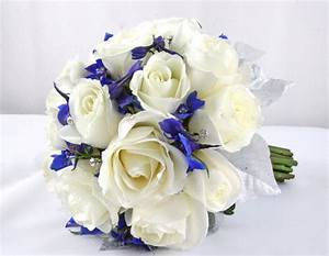 Blue and White Wedding Bouquets - BB0853-Winter White Rose ...