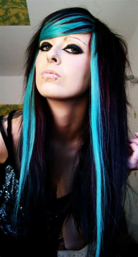 Haircut Hairstyles Emo Girl With Black And Blue Hair