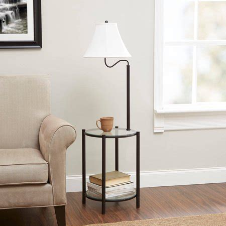 mainstays transitional glass  table lamp matte black
