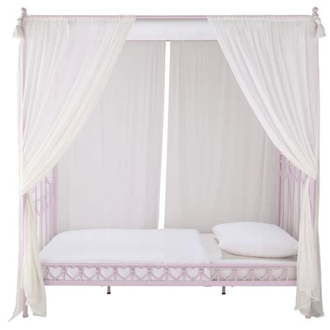 modern metal canopy bed lit à baldaquin enfant 90 x 190 cm en métal eglantine