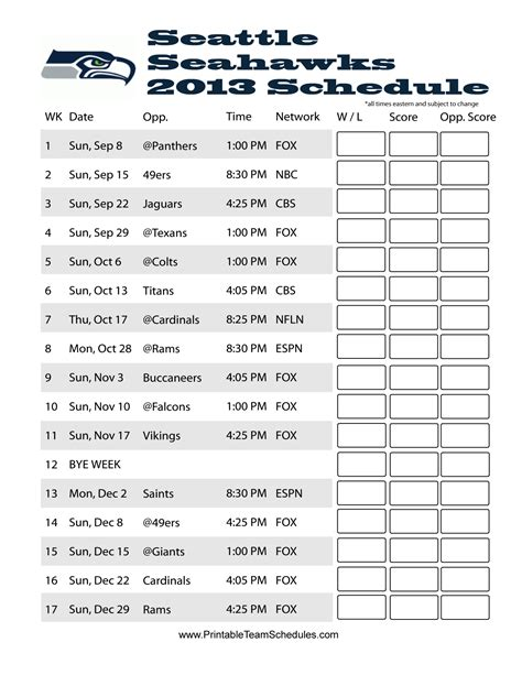 seahawks schedule  printable seattle seahawks