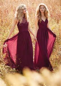 burgundy lace bridesmaid dresses burgundy draped v neck spaghetti lace and chiffon bridesmaid dress of