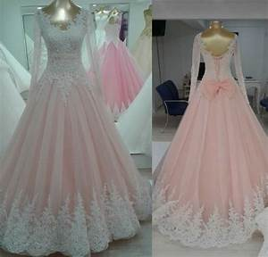 aw7 long sleeves lace custom made fashionable plus size With long sleeve pink wedding dresses