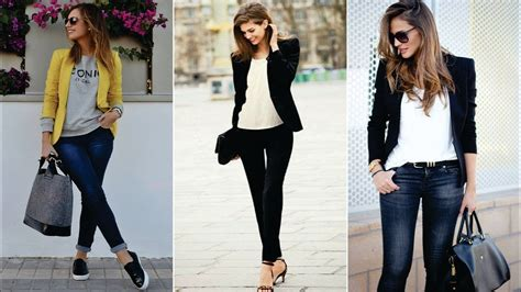 Outfits con Jeans Y Blazer Para Mujer - YouTube