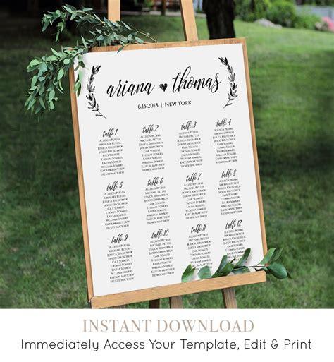 wedding seating chart printable seating plan poster table