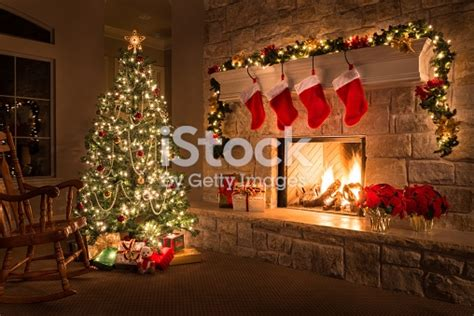 christmas glowing fireplace hearth tree red stockings
