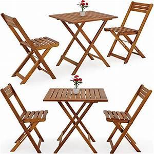 Table Chaise Balcon : salon de jardin 2 chaises 1 table pliantes bois huil acacia balcon t ~ Teatrodelosmanantiales.com Idées de Décoration