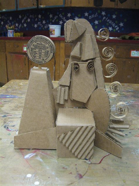 smartteacher resource cardboard cubist sculptures