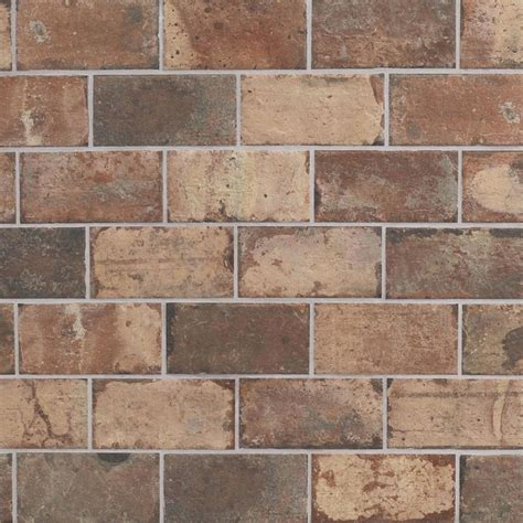 brick look tiles shop style selections broadmeadow brick broadmeadow brick porcelain floor and wall tile common