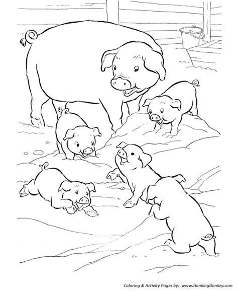 Pig Family Playing In The Farm Colouring Pages Picolour