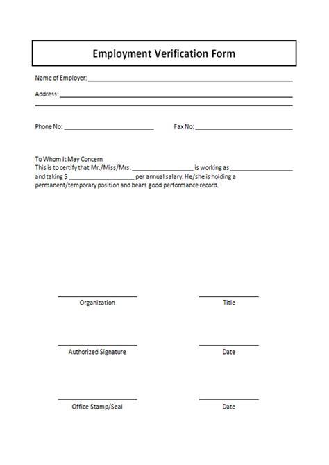 employment verification form template employment verification form template free printable documents