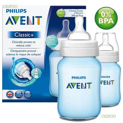 2 X Philips Avent Classic 1m Baby Feeding Bottles 260ml