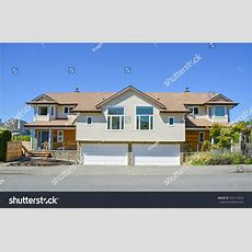 Brand New Residential Duplex House Two Stock Photo