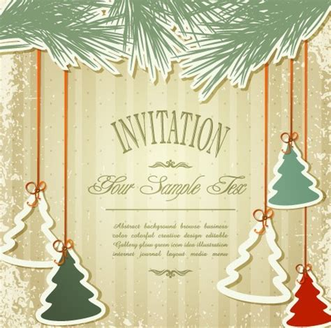 vintage merry christmas invitation card ornaments
