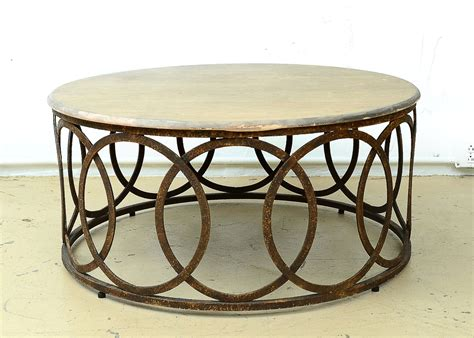 Contemporary and modern round coffee tables desert sand with murano kind handmade glass colored using metal oxides in white, brown, grey and liquid metal in gold color. Contemporary Round Coffee Table   EBTH