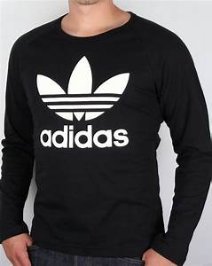 Adidas Trefoil Design Adidas Originals Trefoil Long Sleeve T Shirt Black Tee Mens