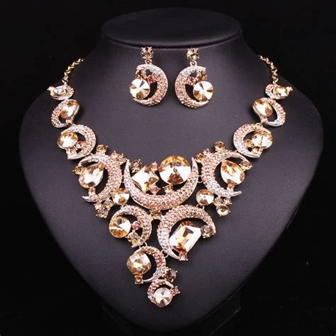 fashion crystal necklace  earrings jewelry sets bridal